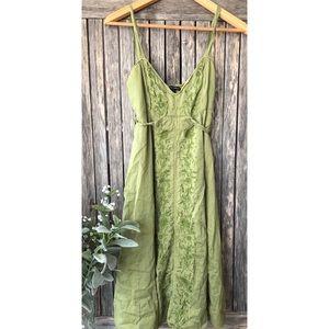 BANANA REPUBLIC Green Embroidered Sleeveless Dress